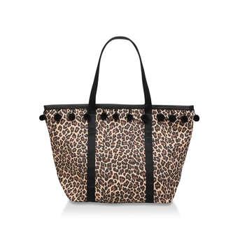 90067f96ce Harper. Leopard Print Pom Pom Tassel Beach Tote Bag