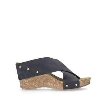 7d011c375a9 Carvela Comfort Sooty - Navy Mid Heel Wedge Sandals
