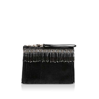 Lthr Beaded Fringe Clutch from River Island