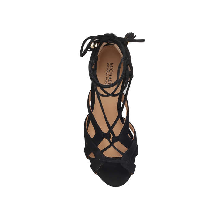 c32a2977e28a65 Mirabel Mid Black Mid Heel Sandals By Michael Michael Kors