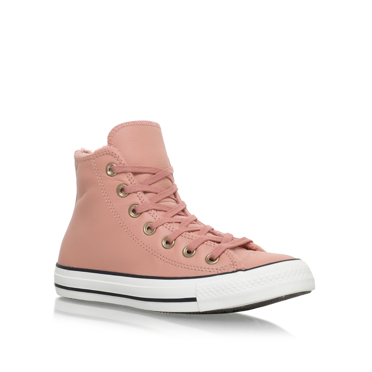 31e9cfe3c91 Ct Leather Fur Hi Pink Flat High Top Trainers By Converse