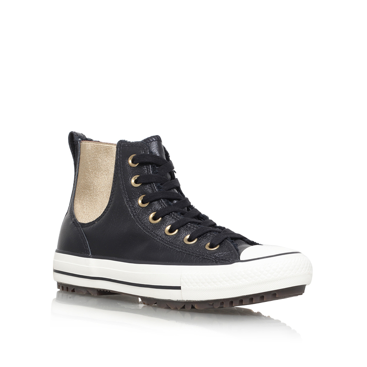 de2eb54ed66d Leather fur Chelsea Boot Black Flat High Top Trainers By Converse ...