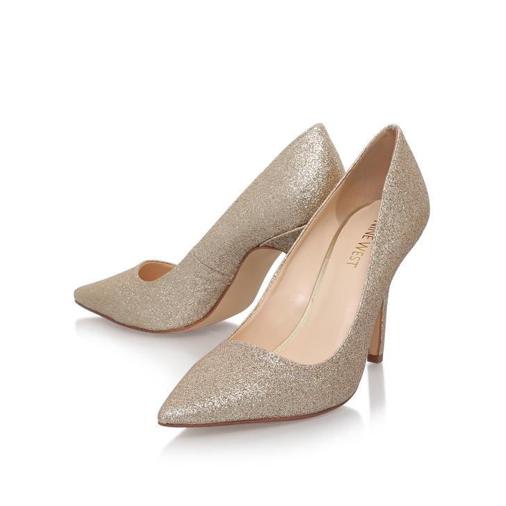 55770cdf6967 Jackpot Gold Mid Heel Shoe By Nine West