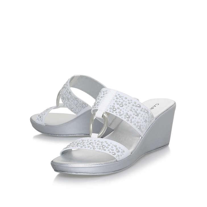 e987d65799d40 Salt White Mid Heel Wedge Sandals By Carvela Comfort   Kurt Geiger
