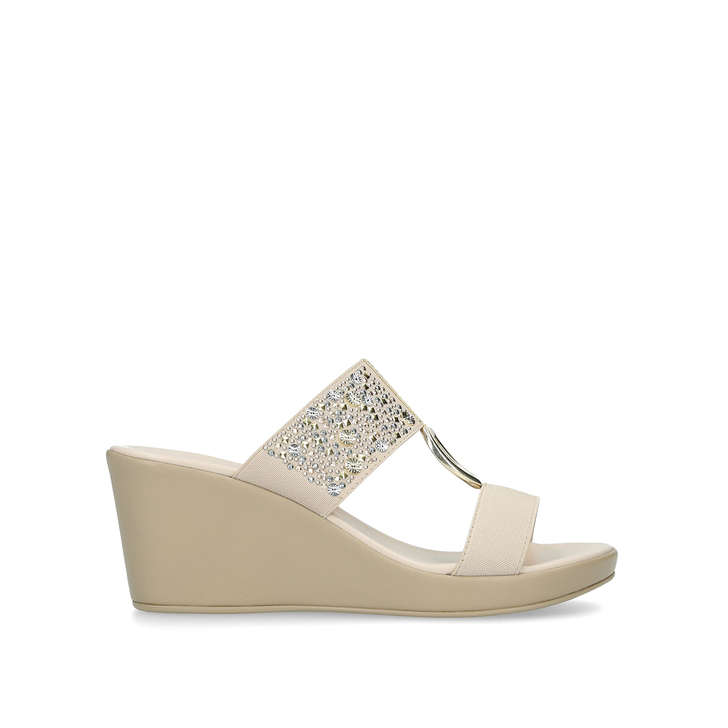 enjoy discount price new release colours and striking Salt Nude Embellished Mid Heel Wedge Sandals By Carvela ...