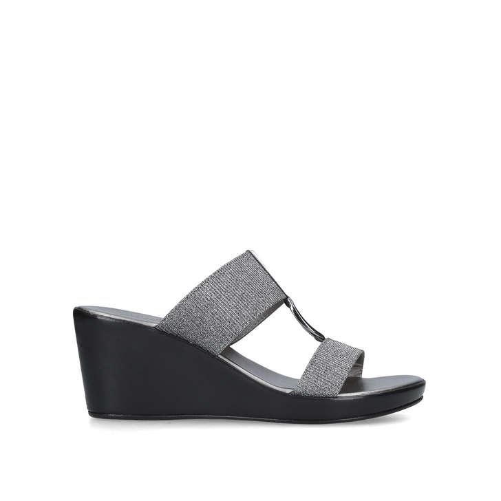 b39c5c5778f1a Salt Metallic Mid Heel Wedge Sandals By Carvela Comfort   Kurt Geiger