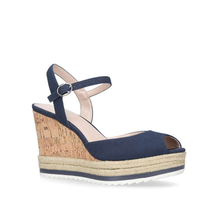 Debi Navy High Heel Wedge Sandal By Nine West Kurt Geiger