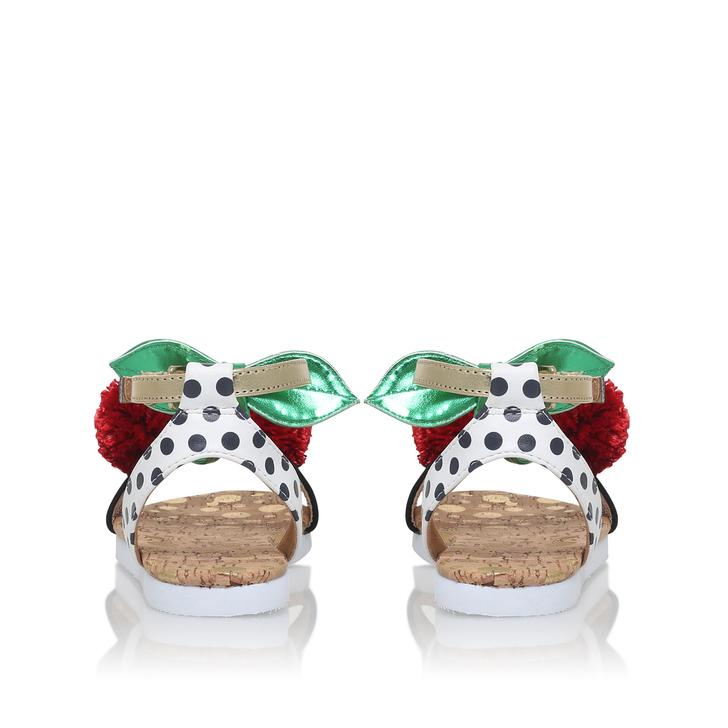 97c0f2d7dfe2 Very Cherry Girls White Flat Sandals By Mini Miss KG