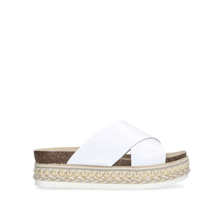 bf4e8318046c Kake White Flatform Sliders By Carvela