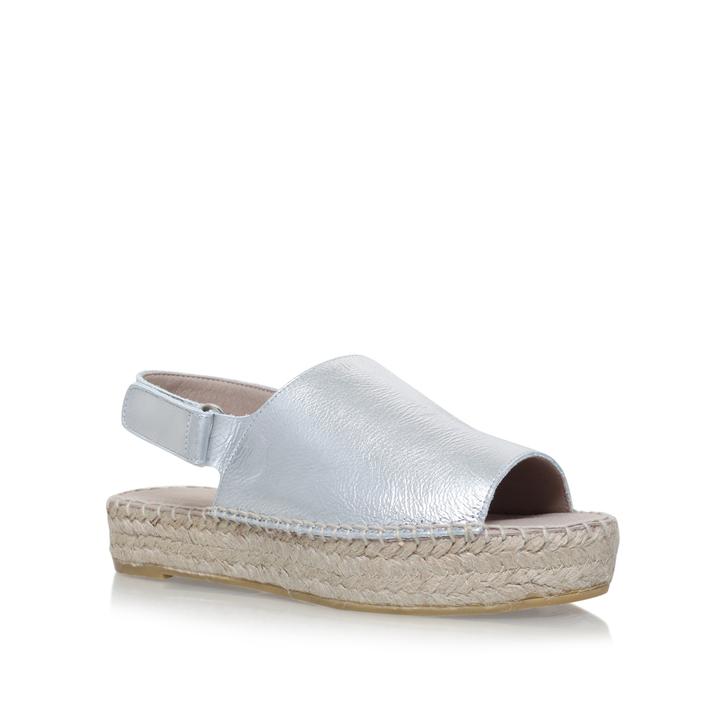 14a825afb7ca Kinder Silver Flat Espadrille Sandals By Carvela