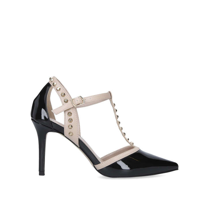 KANKAN Black Patent Studded Court Shoes