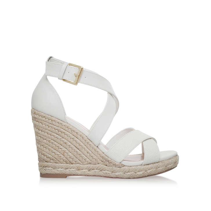 e0d01661b2 Smashing White High Heel Wedge Sandals By Carvela | Kurt Geiger