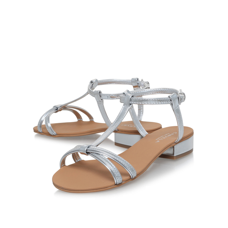 0b5bb108f Bravo Silver Flat Sandals By Carvela | Kurt Geiger
