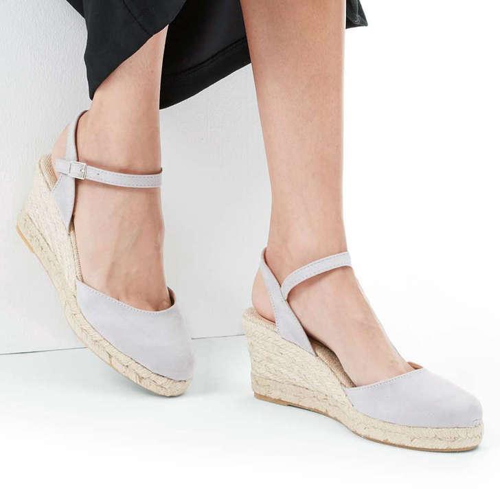 a58690c141d Sabrina 2 Grey Mid Heel Wedge Sandals By Carvela
