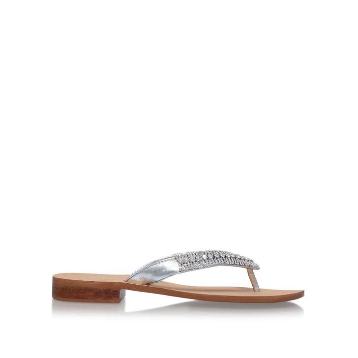 6f0abaf3af Breanne 2 Silver Flat Sandals By Carvela | Kurt Geiger