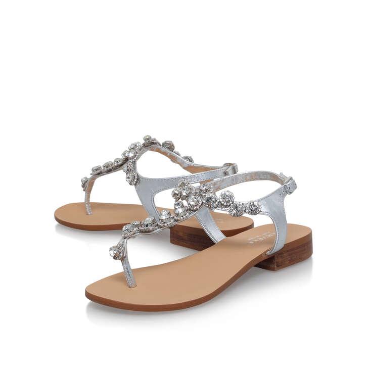 b2018b2aa Bebe 2 Silver Flat Sandals By Carvela