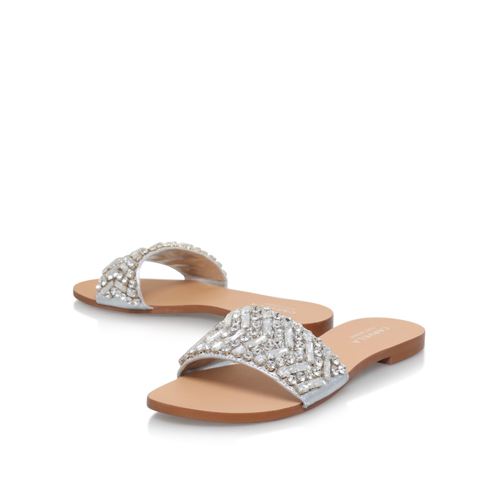 731cbccaac5 Bling Silver Flat Sandals By Carvela