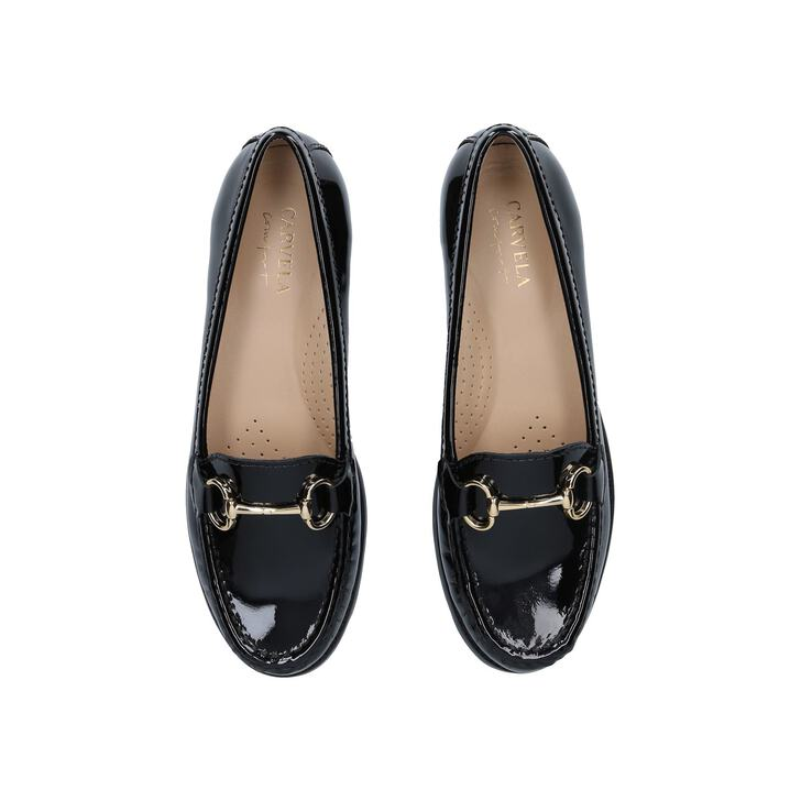 06b269328d041 Click 2 Black Flat Loafer Shoes By Carvela Comfort
