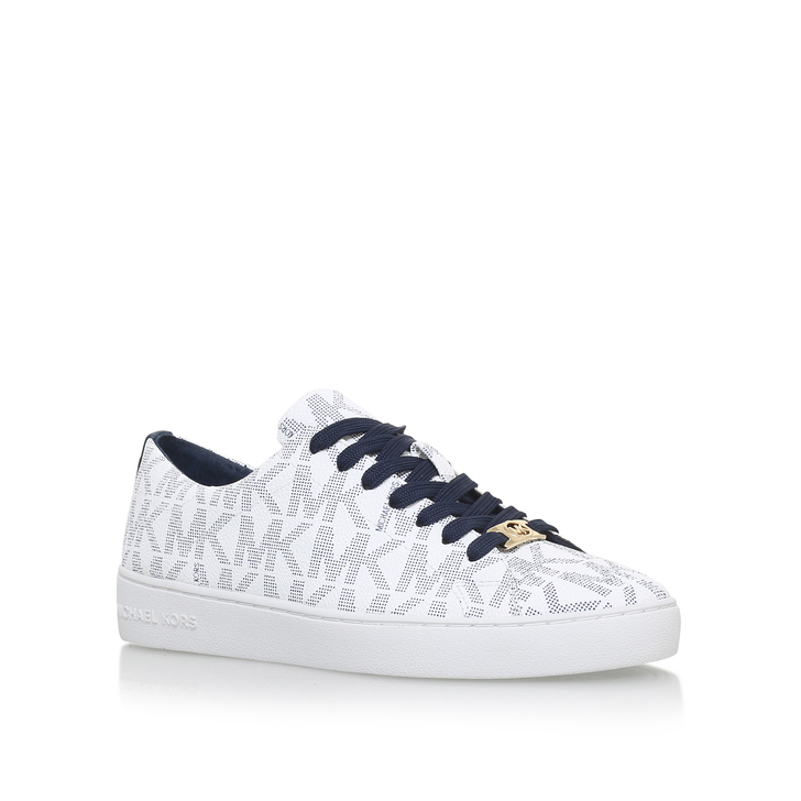 abb1c077dedc Keaton Lace Up White And Navy Flat Low Top Trainers By Michael Michael Kors