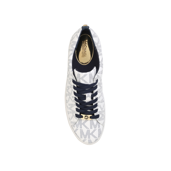 Keaton Lace Up White And Navy Flat Low Top Trainers By