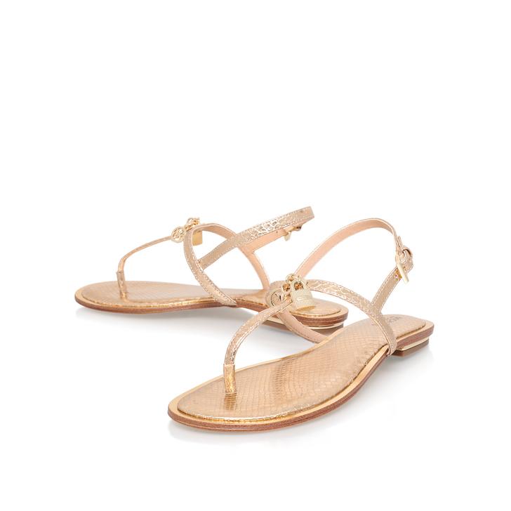 0c34833e69615 Suki Thong Gold Flat Sandals By Michael Michael Kors