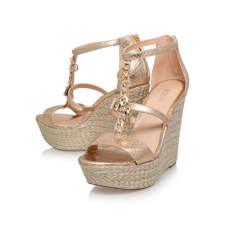 09699b95bdc1 Suki Wedge Gold Mid Heel Wedge Sandals By Michael Michael Kors ...