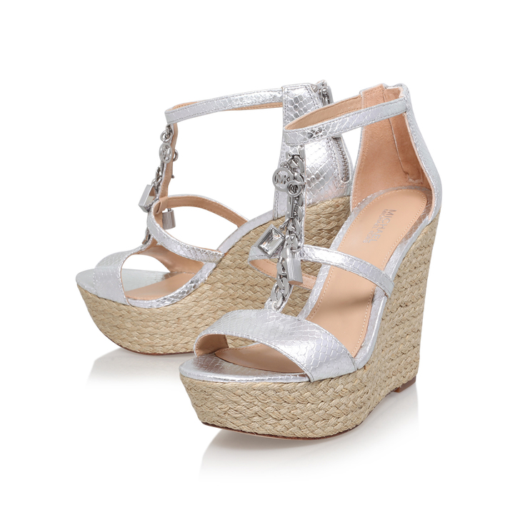 19bb5bd055ef7 Suki Wedge Silver Mid Heel Wedge Sandals By Michael Michael Kors ...
