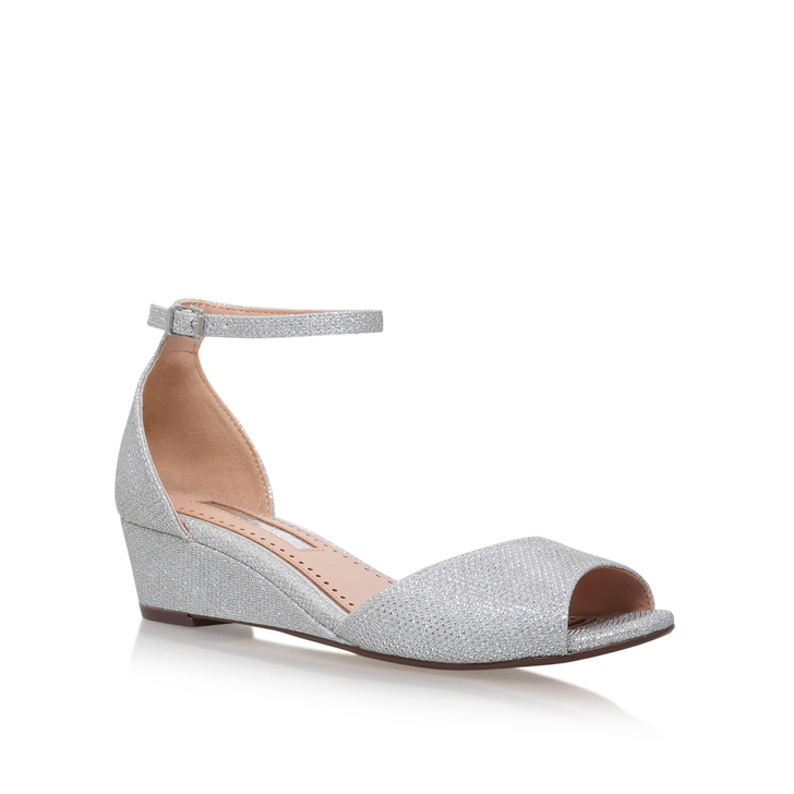 a6f73f27e7ee Cassandra Silver Low Heel Sandals By Miss KG