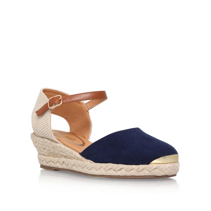 Lea Navy Wedge Sandals By Miss KG QpPJLJel