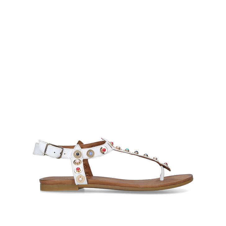 KANKAN White Studded Flat Sandals by