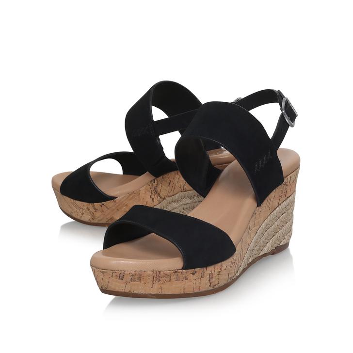 47fa4aa5176 Elena Black High Heel Wedge Sandal By UGG