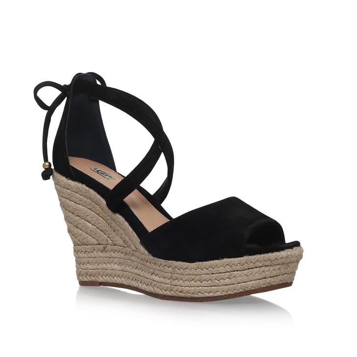 8eadeaae98c Reagan Black High Heel Wedge Sandal By UGG
