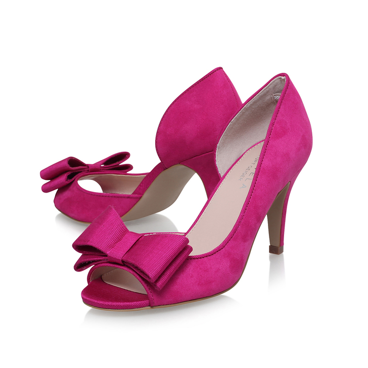 Leona Pink Mid Heel Court Shoes By