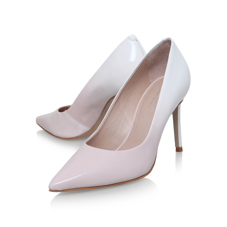 Alison White Mid Heel Court Shoes By