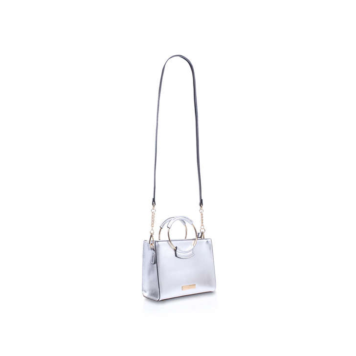 31ab07213481 Romy Circle Handle X Body Silver Cross Body Bag By Carvela