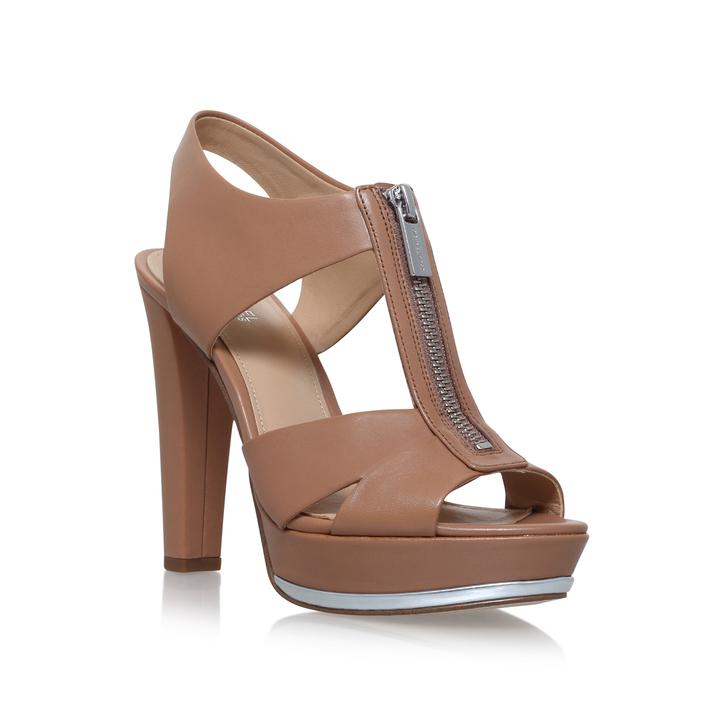378fa78a7ef8 Bishop Platform Tan Mid Heel Sandals By Michael Michael Kors