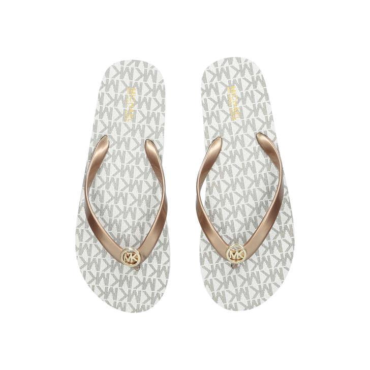 d1784ca155917 Mk Flip Flop Stripe Eva Cream Flat Flip Flop Sandals By Michael Michael  Kors