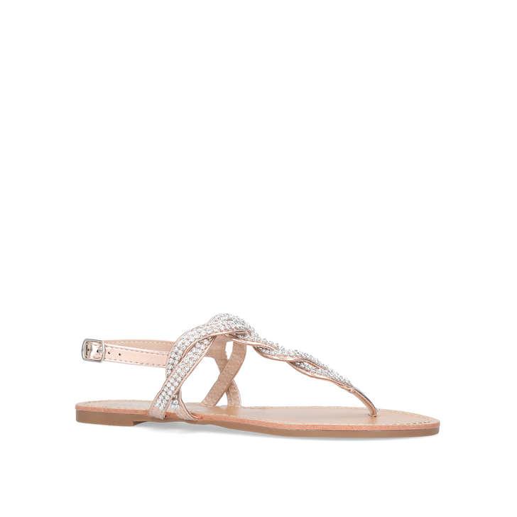 Gold Flat Sandals By Miss KG   Kurt Geiger
