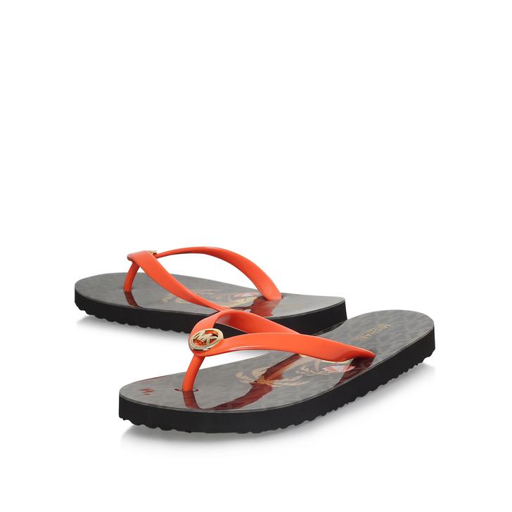 ba840e0f2c0 Mk Flip Flop Shiny Brown Flip Flops By Michael Michael Kors