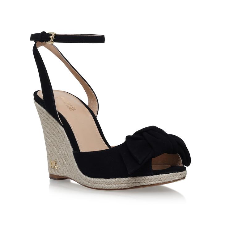 7cb55261343e Willa Wedge Black Mid Heel Wedge Sandals By Michael Michael Kors ...