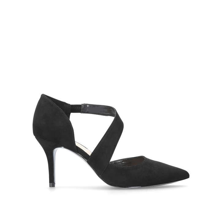 KREMI Black Mid Heel Court Shoes by