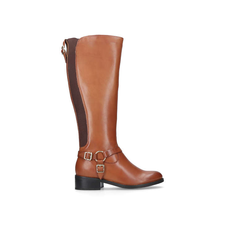 ea5bfed54514 Petra. Tan Low Heel Knee Boots