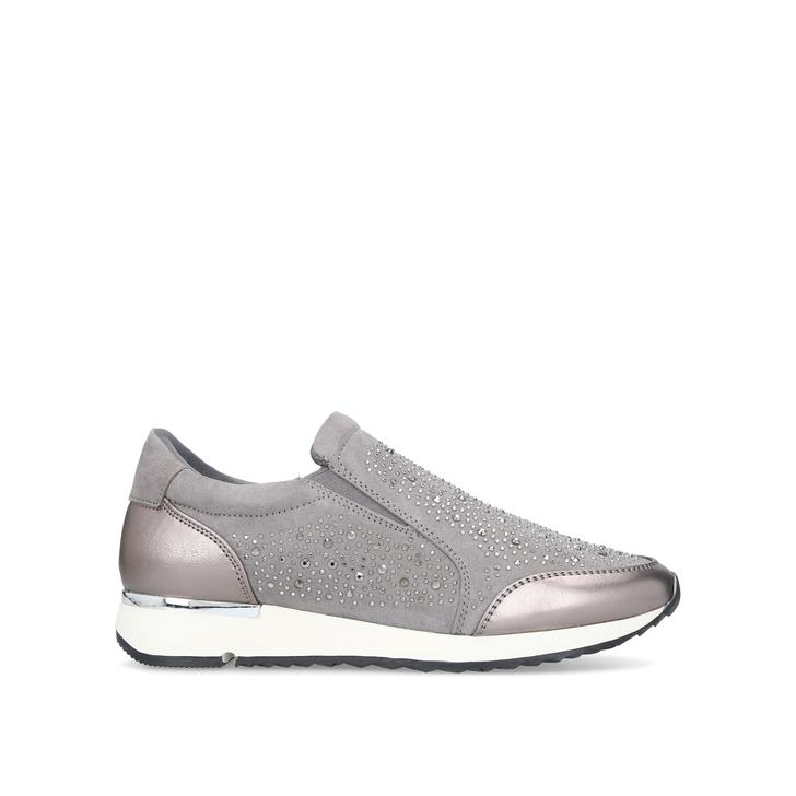 JAZZ Grey Embellished Slip On Trainers