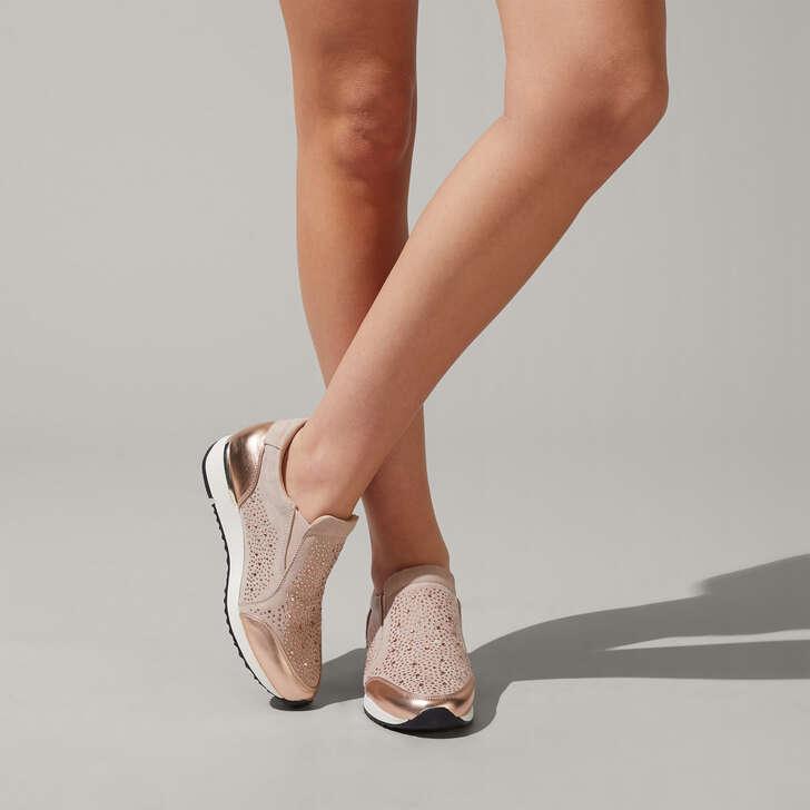 4daf099e67b Jazz Nude Embellished Slip On Trainers By Carvela
