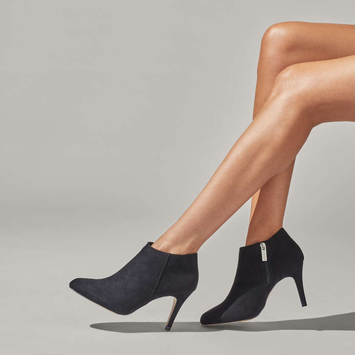 Serene Black Low Cut Mid Heel Ankle