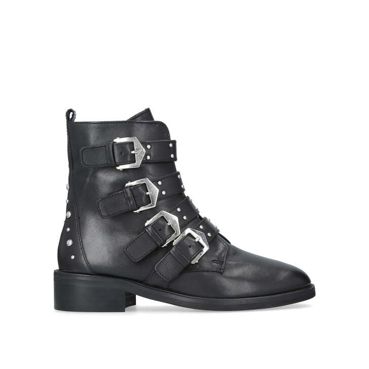 f28f956a7127 Scant. Black Leather Biker Boots