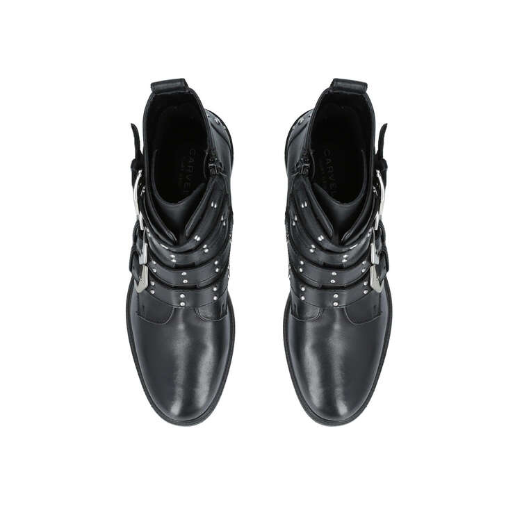 Scant Black Leather Biker Boots By Carvela Kurt Geiger