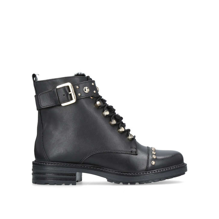 Son Leather Lace Up Boots - Black Carvela AHbHzqg