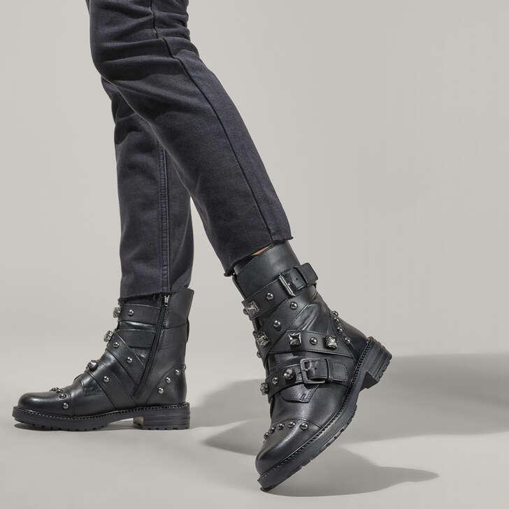 91a47e2bf2392 Sander Black Flat Biker Boots By Carvela