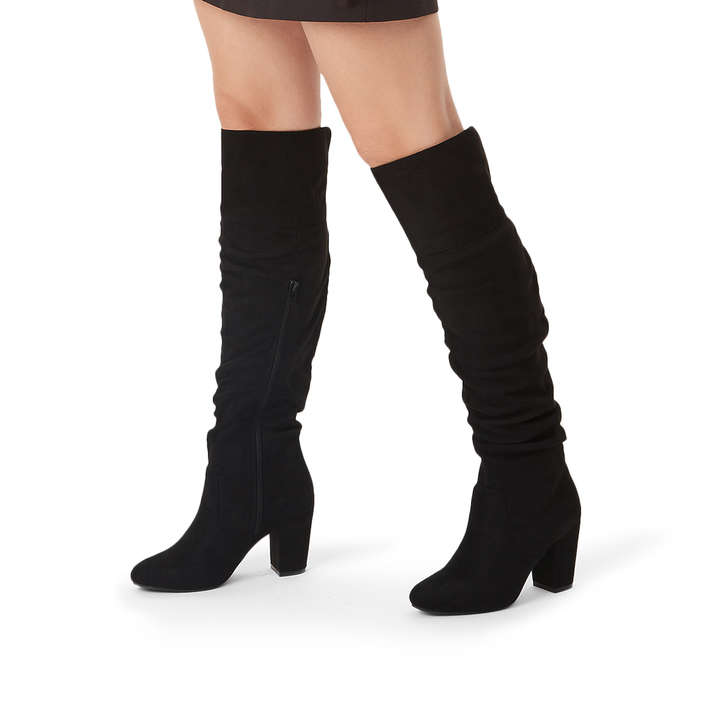 28aac1b4098 Healey Black Suedette Over The Knee Block Heel Boots By Miss KG ...